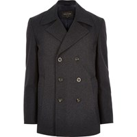 River Island Mens Grey Smart Wool Blend Pea Coat