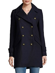 French Connection Solid Double Breasted Wool Peacoat Utility Blue