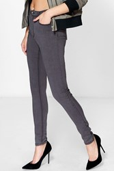 Boohoo 5 Pocket High Waisted Skinny Jeans Charcoal