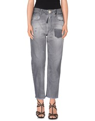 High Denim Denim Trousers Women Grey