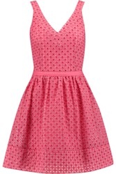 Maje Riposte Broderie Anglaise Cotton Blend Mini Dress Pink