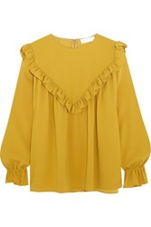 Co Ruffled Crepe Blouse Yellow