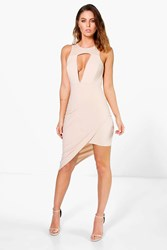 Boohoo Cut Out Detail Asymmetric Bodycon Dress Taupe
