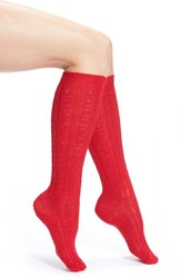 Women's Wigwam Cable Knit Knee Socks Chili Red