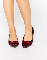 New Look Wide Fit Patent Flat Shoes With Bow Deepred