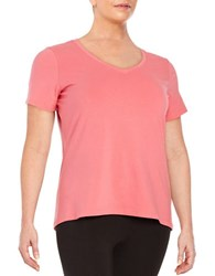 Lord And Taylor Plus Stretch Cotton V Neck Tee Pretty Pink