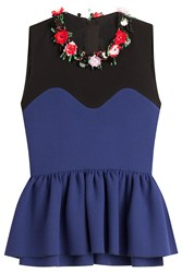 Msgm Flower Embellished Wool Top With Peplum Multicolor