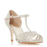 Linea Mayviss T Bar Strappy Mid Heel Sandals Gold