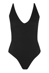 Topshop Black Ribbed Swimsuit