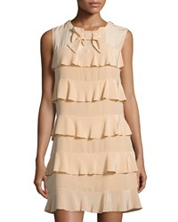 See By Chloe Tiered Ruffle Silk Dress Peach Pink