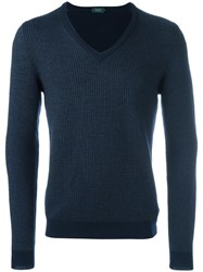 Zanone V Neck Jumper Blue