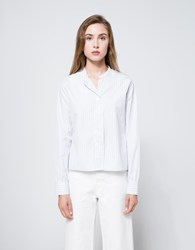 Margaret Howell Wide Placket Shirt In Stripe Grey White
