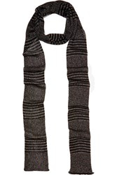 Missoni Striped Metallic Crochet Knit Scarf Black