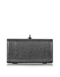 Vivienne Westwood Verona Metallic Black Large Clutch