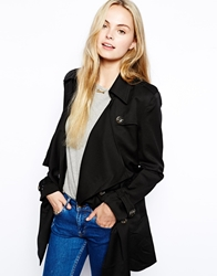Jovonnista Sala Waterfall Trench Coat Black