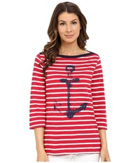 Hatley Breton Top Navy Anchor Women's Clothing Red