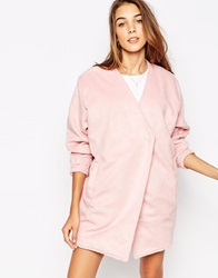 Motel River Boyfriend Coat In Pink Rib Wool