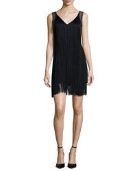 Haute Hippie Sleeveless Fringe Flapper Dress Black