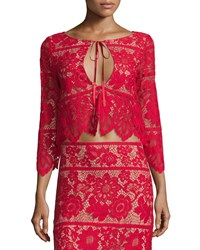 For Love And Lemons Gianna Floral Lace Crop Top Hot Red