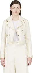 Yang Li Cream Leather Biker Jacket