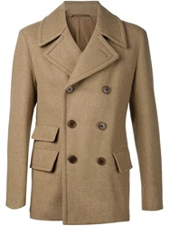 Camoshita By United Arrows Double Breasted Peacoat Brown