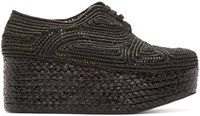Robert Clergerie Black Platform Raffia Pinto Shoes