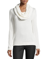 Neiman Marcus Long Sleeve Cowl Neck Sweater Bone