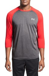 Men's Under Armour 'Ua Tech' Heatgear Baseball T Shirt Carbon Heather Red
