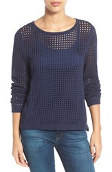 Women's Fever Open Knit Sweater Dress Blue