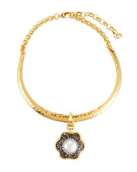 Jose And Maria Barrera Hammered Collar Necklace W Floral Crystal Pendant Gold