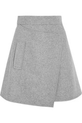 Carven Wrap Effect Wool Blend Felt Mini Skirt Light Gray