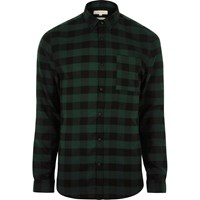 River Island Mens Green Casual Check Muscle Fit Shirt