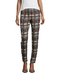Romeo And Juliet Couture Houndstooth Plaid Chiffon Ankle Pants Red