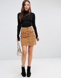 Brave Soul Buttoned Cord Skirt Camel Brown