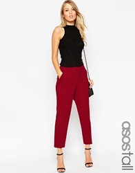 Asos Tall Ankle Grazer Cigarette Trouser In Crepe Red