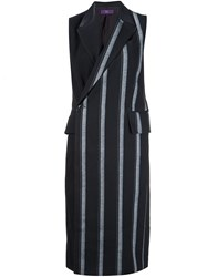 Y's Long Striped Waistcoat Black