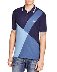Fred Perry Color Block Slim Fit Polo Shirt Blue Marl