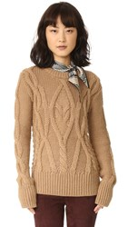 Marissa Webb Gordon Mixed Cable Sweater Camel
