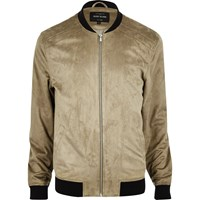 River Island Mens Beige Lightweight Faux Suede Bomber Jacket