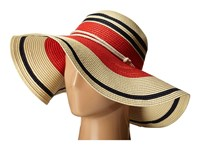 Lauren Ralph Lauren Paper Straw Blocked Stripe Sun Hat Natural Capri Navy Bright Poppy Traditional Hats Beige