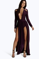 Boohoo Long Sleeve Square Neck Plunge Maxi Dress Berry