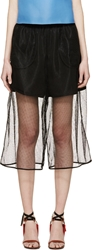 Msgm Black Sheer Mesh Shorts