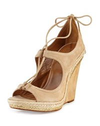 Christy Lace Up Wedge Sandal Nude Aquazzura Brown
