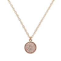 Finesse Round Crystal Pendant Rose Gold