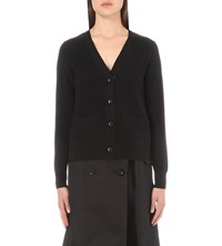 Sacai Floral Lace Wool Cardigan Black