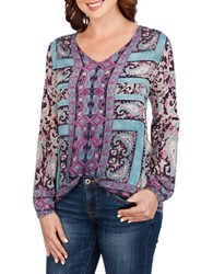 Lucky Brand Long Sleeve Paisley Peasant Top Navy Multi