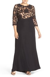 Tadashi Shoji Plus Size Women's Lace Tulle And Crepe A Line Gown Black Nude