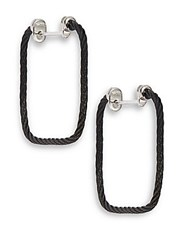 Alor Black Stainless Steel And 18K White Gold Rectangular Hoop Earrings