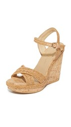 Stuart Weitzman Minx Wedge Sandals Camel