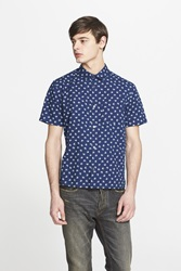 Marc By Marc Jacobs Trim Fit Palm Print Short Sleeve Chambray Sport Shirt Indigo Multi